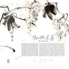 Fall Japanese Ink Painting Ketubah Botanical Sumi-e Japanese Ink Painting, Jewish Art, Guest Book Alternatives, Wedding Guest Book, Watercolour Painting, Fine Art Paper, Giclee Print, Art Prints, Fall