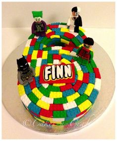 Number 6 lego cake with edible lego batman characters