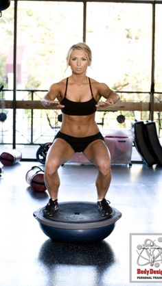 Bosu squats are my exercise of the moment. Not only do you build up a peachy bum, but you're engaging your core to gain abs and working on balance and stability.