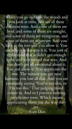 This is a beautiful way to metaphorically speak about accepting others. This is how I am with people, I don't judge them.