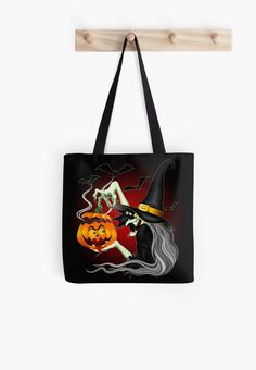 Witch with Jack O'Lantern and Bats Tote by #BluedarkArt $18.77  #Witchtote #Halloweentote