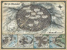 """A map of the city of Bryn Shander and other towns around Icewind Dale. Created for WotC's D&D adventure """"Legacy of the Crystal Shard"""". © 2013 Wizards of the Coast Fantasy City Map, Fantasy Places, Tomb Of Horrors, Storm Kings Thunder, Icewind Dale, Imaginary Maps, Village Map, Rpg Map, Dungeon Master's Guide"""