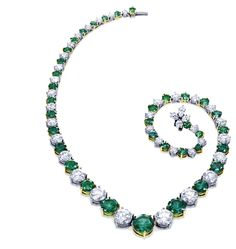 Harry Winston Diamond and Emerald necklace.  Holy mother of awesome.