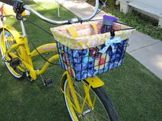 Bike basket liner and tote! Ok I know I went on and on about my old Schwinn bike and the cover was cute and easy but a cute seat cover can o...
