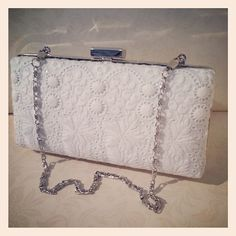Bridal bag made from vintage hand embroidered fabric. £55.00