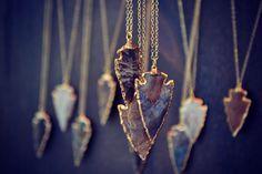 ARROWS /// Electroformed Gemstone Arrowhead /// Gold by luxdivine
