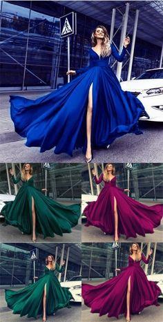 Sexy Deep V Neck Long Sleeves Prom Dresses 2018 Leg Split Evening Gowns 10007