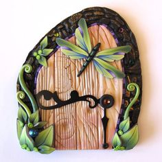 Dragonfly Fairy Door Pixie Portal by Claybykim on Etsy
