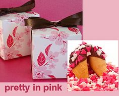 Yummy customizable fortune cookie favors in a cherry blossom box. Think what fun you can have with the custom fortunes!