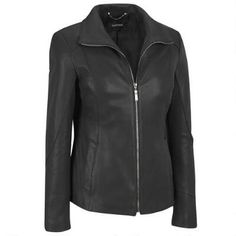 Plus Size Ellen Tracy Zip Front Leather Scuba