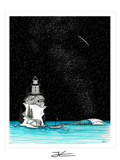Lighthouse Rights by Night Art Print | Jonas Claesson Shop