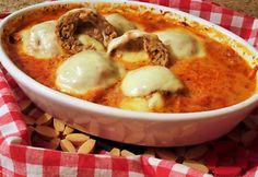 Toszkán húsgolyók Mozzarella, Ober Und Unterhitze, Pot Roast, Meat Recipes, Cheeseburger Chowder, Bacon, Soup, Meals, Cooking