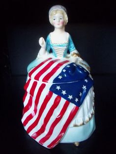 VTG ENESCO BETSY ROSS JULY COOKIE BISCUIT JAR CANISTER