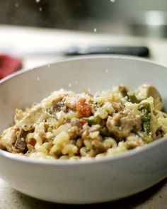 Herbie Likes Spaghetti: Fusilli with a Delicious Ragu of Chicken, Sausage, Asparagus, and Mushrooms