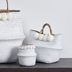 Our beautiful handwoven baskets can be used for anything, from a beach bag to stylish storage in any room of your house, the small size can even be used as a handbag. Handcrafted with a natural seagrass that has been hand painted in a brilliant white and finished with matching white pompoms