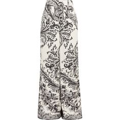Etro Printed crepe wide-leg pants (70.785 RUB) via Polyvore featuring pants, paisley wide leg pants, wide leg trousers, paisley print pants, cream pants и patterned pants