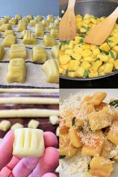 Kartoffel-Gnocchi selber machen ist nicht schwer. Mit unserem gelingsicheren Rezept könnt ihr Kartoffelgnocchi einfach und schnell selber machen. Mit Butter und Salbei schmecken sie der ganzen Familie. #Gnocchi #DieAngelones Cantaloupe, Dairy, Butter, Herd, Cheese, Fruit, Connection, Italian Kitchens, Italian Recipes