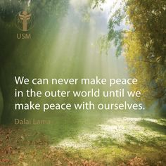 """We can never make peace in the outer world until we make peace with ourselves."" -Dalai Lama Quote"
