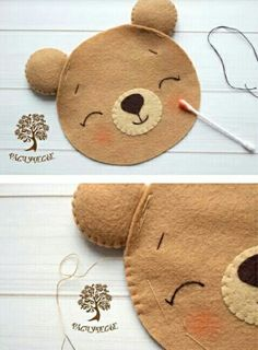 cute baby bear felt pattern, would look lovely on a little girls/boys nappy bag, just sew a brooch pin on the back Penny Rug Patterns, Felt Patterns, Applique Patterns, Machine Embroidery Designs, Felt Diy, Felt Crafts, Diy And Crafts, Crafts For Kids, Felt Doll House