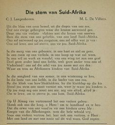 Die Stem van Suid Afrika - Old South African National Anthom. Afrikaanse Quotes, Pretoria, My Land, African History, Childhood Memories, South Africa, Poems, Van, Inspirational Quotes