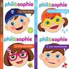 Phil & Sophie La collection Grandir avec Phil et Sophie de Fablus est une série de livres d'une trentaine de pages destinés aux enfants de 3 à 7 ans. Visant à encourager les enfants à cultiver le bonheur en adoptant de belles attitudes telles que le courage, l'optimisme, la patience, etc: http://www.pomango.ca/phil-et-sophie-je-suis-ecolo-je-suis-perseverant.html