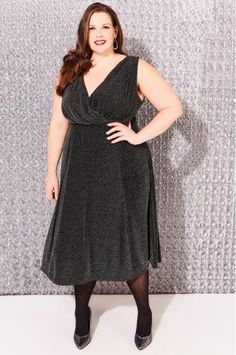 Black & Silver Sparkle Wrap Front Sleevelss Midi Dress
