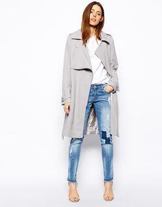 Grey Trench x Denim Jeans