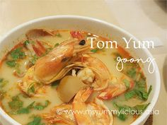 tom yum, tom yum goong, soup, prawns, shrimp, squid, oyster mushroom