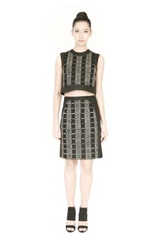 'Dori' embroidered Checkered top framed in black foil printed canvas with a conceal zip fastening on the shoulder, styled with 'Dori' embroidered Checkered skirt framed in black foil printed canvas with a conceal zip fastening. Checkered Skirt, Morphe, Party Fashion, Printed Cotton, High Waisted Skirt, Personal Style, Two Piece Skirt Set, Dresses For Work, Zip