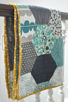 Karen Lewis' entry for the Bloggers' Quilt Festival 2012. Love those big hexies!