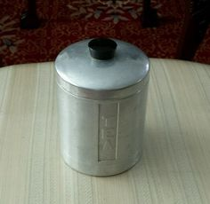 SOLD!!!!!!!!!! Vintage Retro Camp Primitive Kitchen Aluminum Tea  Canister Made In Italy