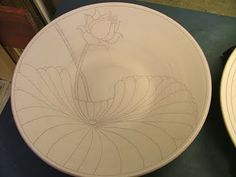 incredible water lilly / lotus design sgraffito plate pottery ceramics clay