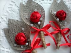 Set of 10- RED Flower burlap Boutonniere (buttonhole) -Rustic Wedding-grooms boutonniere