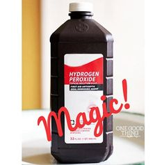 "Hydrogen Peroxide Magic! I started using Hydrogen Peroxide to get rid of armpit stains, to clean cookie sheets, as a miracle cleaner in my kitchen and bathroom, and to make my own ""oxi clean""…"