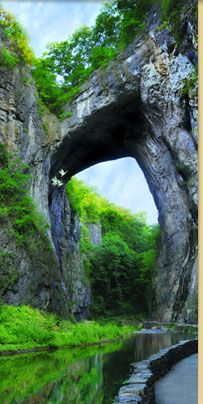 Natural Bridge, Va. As a young boy, George Washington surveyed this land and marked his initials into the cliffside.