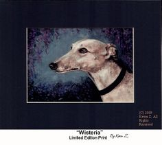 Fawn Greyhound Galgo Wisteria Limited Edition Signed Art  Print NEW Kevin Z