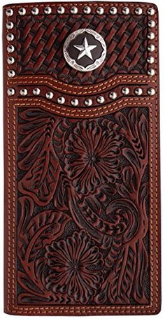 3D Belt Company tan floral and basketweave hand-tooled leather roper / checkbook wallet with silver tone studs and brown steel star concho http://www.amazon.com/dp/B00A0XSI1U/ref=cm_sw_r_pi_dp_jGqsvb1JJGZBP