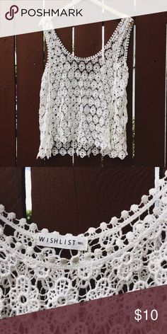 White Lace Top Cute lace top. Perfect for the summertime! Only worn once! 🚫No Trades🚫 Tops Tank Tops