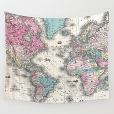 Vintage Map of The World (1852) Wall Tapestry by BravuraMedia