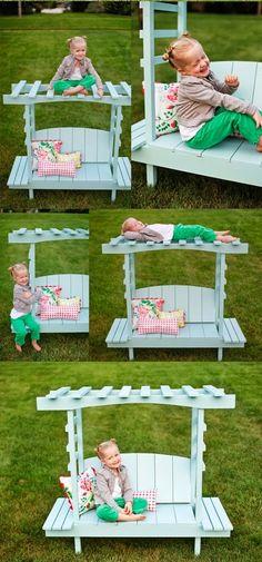 DIY Child's Bench with Arbor