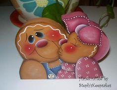 Handpainted Gingerbread  Couple Shelf Sitter by stephskeepsakes, $8.95