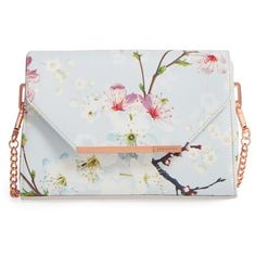 Women's Ted Baker London Hadly Cherry Blossom Faux Leather Crossbody... ($139) ❤ liked on Polyvore featuring bags, handbags, shoulder bags, light grey, ted baker crossbody, faux leather purses, vegan purses, faux leather crossbody purse and light grey purse