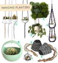 30 Must-Have Hanging Planters (Design*Sponge) Diy Hanging Planter, Diy Planters, Hanging Baskets, Planter Ideas, Indoor Garden, Garden Plants, Indoor Plants, Inside Garden, Garden Inspiration