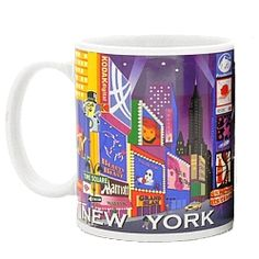 """Broadway Ceramic Mug     Enjoy your favorite warm or cold drink with our Times Square and Broadway Mug. A full-color mug featuring Radio City Music Hall, Planet Hollywood, Marriott Marquis Hotel, the TKTS booth, Mr. Peanut, MTV, Empire State Building, Chrysler Building and logos for Wicked, Cats, Hairspray, Phantom of the Opera and Beauty and the Beast.      Our 42nd Street Coffee Mug makes a great gift for yourself and someone you love.      Measures 3.75"""" tall and holds 11oz."""