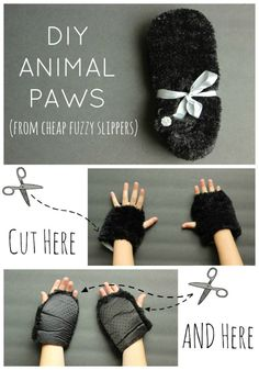 Great idea for DIY Halloween Costumes! Use cheap slippers to make furry animal paws