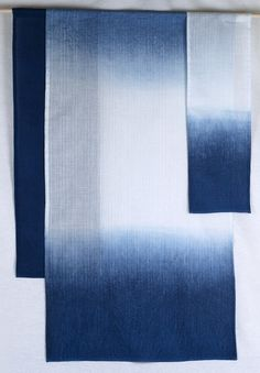 Shibori / Aizome Natural indigo hand dyed ombre Japanese Noren; home decor wall hanging. Little m Blue