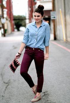 chambray and jewel toned skinny jeans or corduroys.
