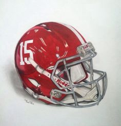 This is a drawing of an Alabama football helmet. The Crimson Tide have won a total of 15 national championships in the modern college football era, hence the number on the helmet. Alabama Football Helmet, College Football Helmets, Crimson Tide Football, Football Uniforms, Team Uniforms, Alabama Crimson Tide, Football Fans, Football Paintings, Collage Football