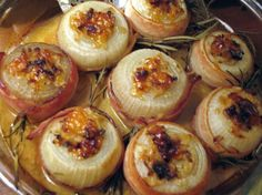 I found this recipe on The Splendid Table website.  What I am posting here is an adaptation of the adaptation I found there of a recipe for Baked Onions from Happy Days with the Naked Chef by Jamie Oliver.   Sounds well-worth trying.  Baked onions are a great accompaniment to roasts.  To significantly reduce the fat content, use a low-fat or reduced fat cream.