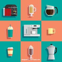 Colorful coffee elements Free Vector